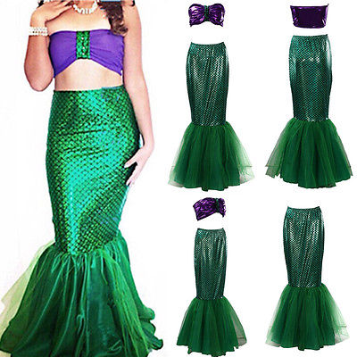 2pcs adult girl femme princess  Womens Halloween Costume Set Cosplay Fancy Party Sexy Mermaid Long Maxi Dress