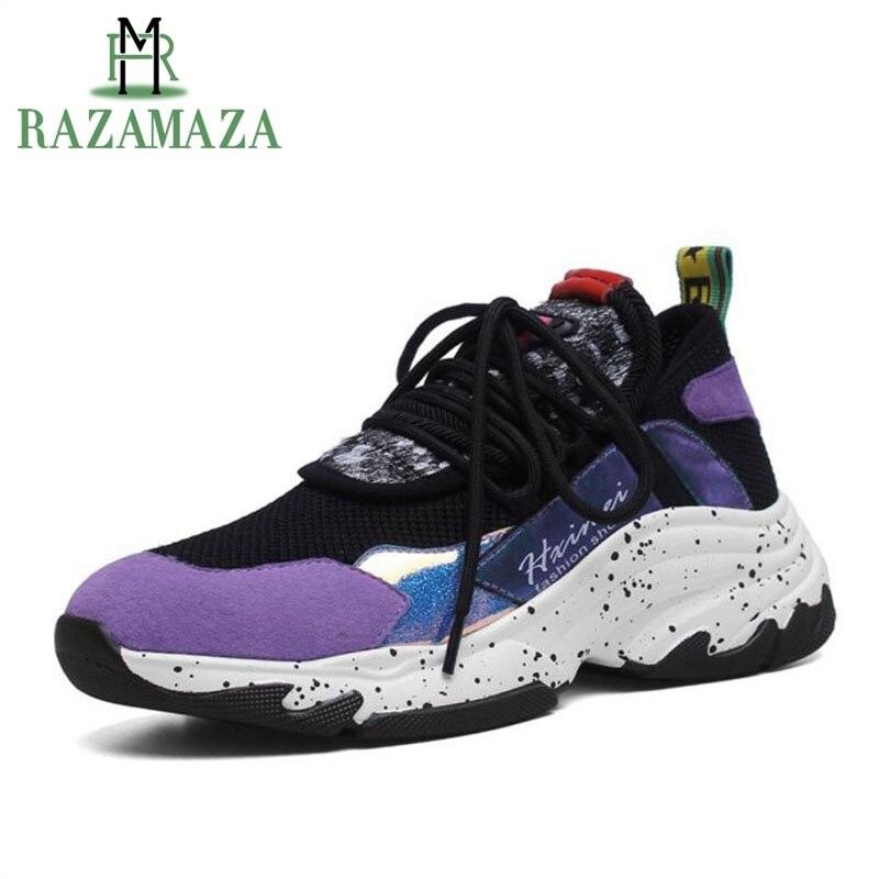 RAZAMAZA Ins chaud tendance Basket Femme baskets en cuir véritable femmes chaussures vulcanisées maille respirant chaussures femmes taille 34-39