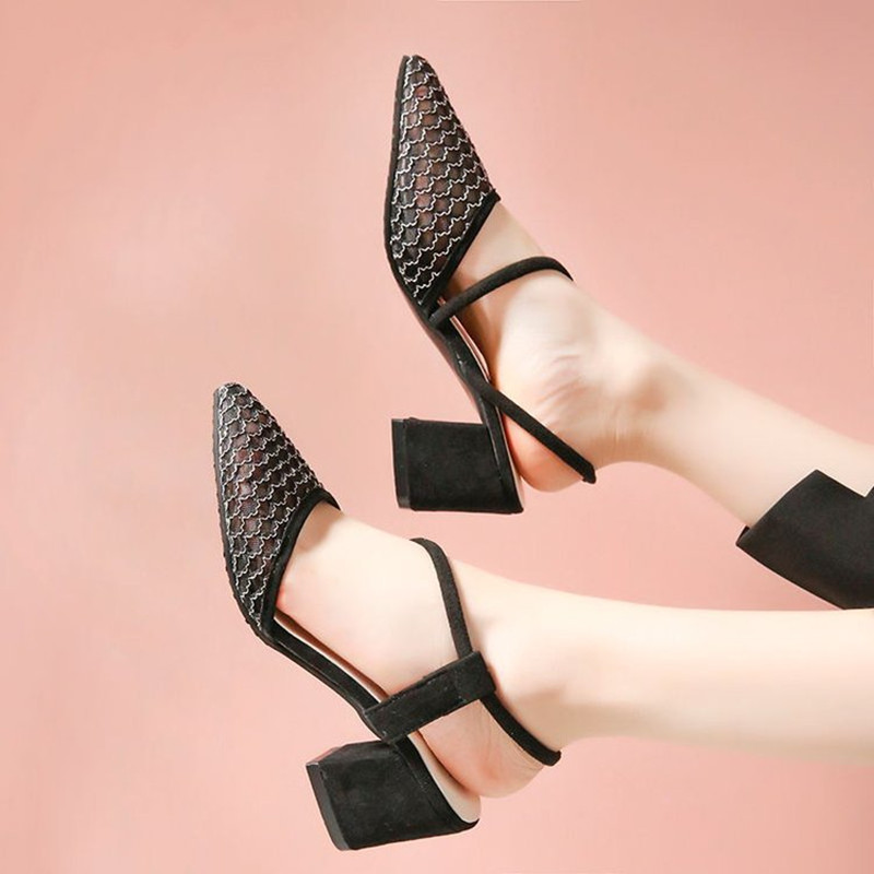2018 Summer New Arrived Mesh Design Women Sandals Comfort Thick Heel Shallow Slip on Sandals Fashion Lady All Match Casual Shoes 2018 summer new arrived strap design wedges women sandals peep toe comfort mid heel sexy lady sandal fashion student casual shoe