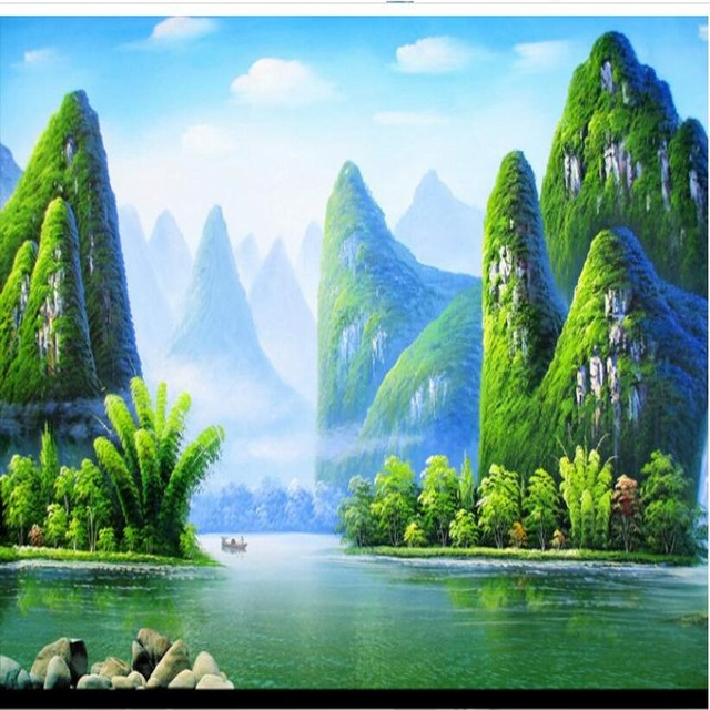 aesthetic landscape paintings background sofa wall jiangnan tv scale murals woven customized non beibehang zoom wallpapers mouse