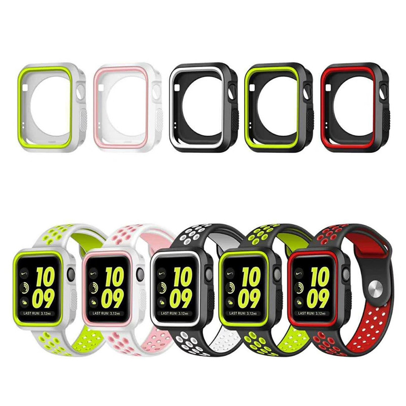 купить For Apple Watch Case 38mm 42mm Shock-proof Silicone Case Full Body Protective Bumper Cover for iWatch Series 3 Series 2 Series 1 недорого