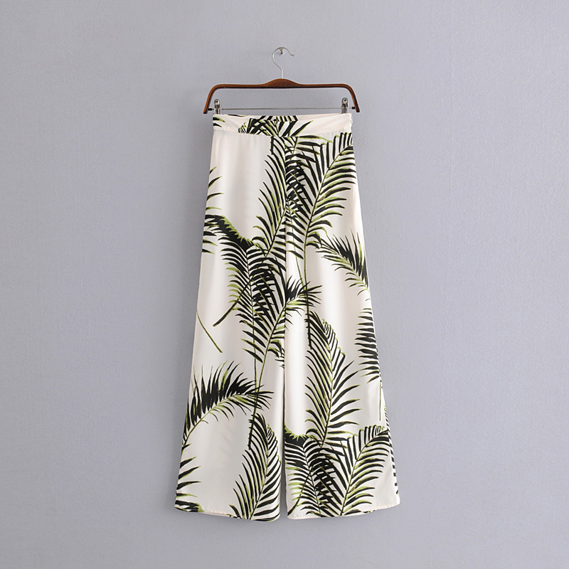 High Waist Tropical Leaf Print Loose Long Palazzo   Pants   2019 Summer Women Zipper Waist   Wide     Leg     Pants