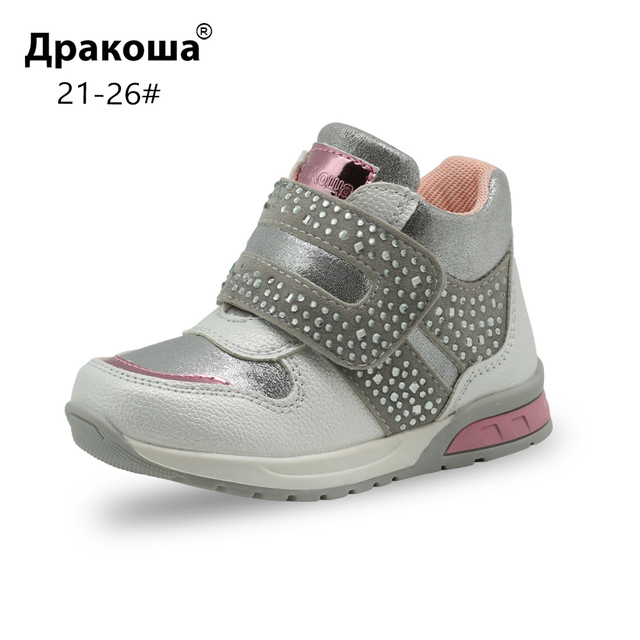 Apakowa Girls Fashion Rhinestone Ankle Boots Toddler Baby Soft Spring Shoes for Girls Party Outdoor Walking Anti slip Footwear