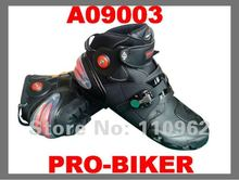 Free shipping PRO-BIKER Motorcycle Leather Boot Shoe Mototcycle Racing Black Size EUR 40-45 A09001 High Quality