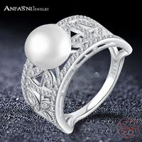 ANFASNI 100 Pure 925 Sterling Silver Rings With Pearl Luxury Dazzling Wedding Rings For Women CGSRI0016