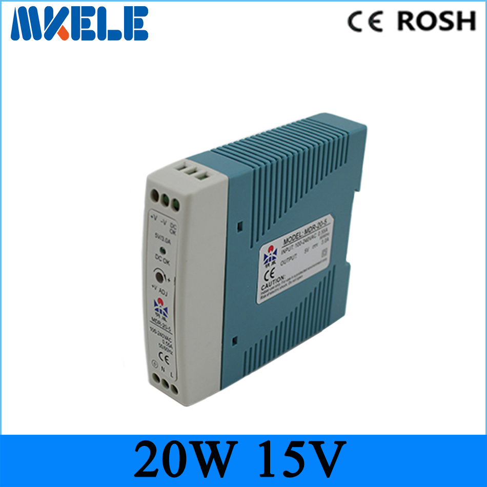 din rail 20W 15v power supply MDR-20-15 1.34a ac-dc DIN rail switching power supply for led driver free shipping ac 85v 265v to 20 38v 600ma power supply driver adapter for led light lamp