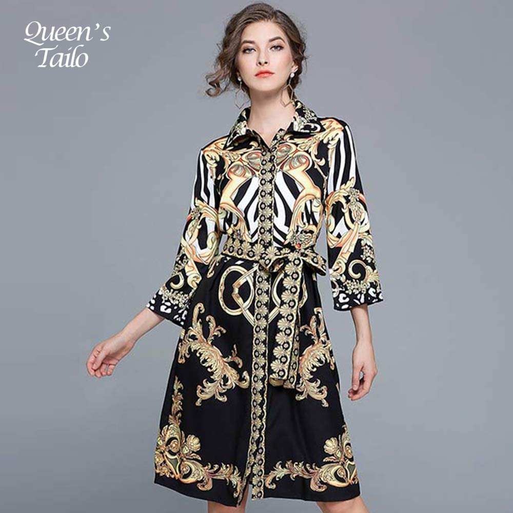 NEW Woman Dress Slim Sashes Waisted Fashion Casual Knee-Length Printed Vintage Dress