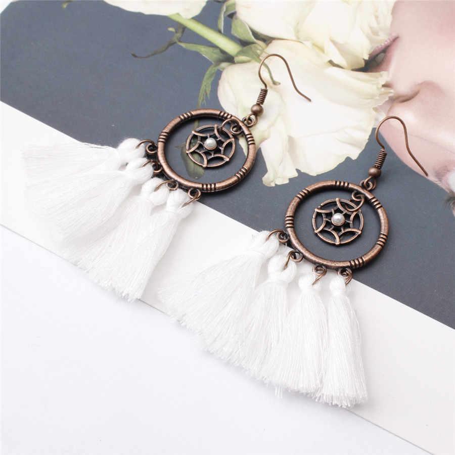 2019 New Bohemian Retro Tassel Earrings Ethnic Long Rope Fringes Sector Pearls Drop Dangle Earrings for Women ZA Party Jewelry