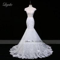 Liyuke Romantyczny Tulle Zapiekanka Dekolt Backless Mermaid Wedding Dress Aplikacje Backless Lace Bez Rękawów Suknie Bride