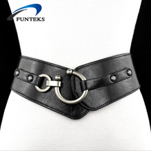 FUNTEKS 2017 New Brand Wide Belts for Women Loose Decoration Belts for Dress and Coat Black/red/coffee/brown Strap Belt Female