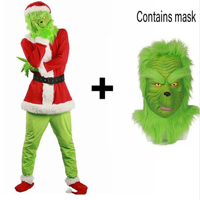 2018 Brand New Sale Santa Claus Grinch mascot Costume Stole Christmas Party Cosplay Suit Outfits for Men Women