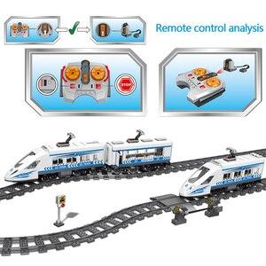Image 3 - RC teknik şehir demiryolu yapı taşları uzaktan kontrol istasyonu demiryolu tren Enlighten tuğla oyuncaklar çocuklar için noel hediyeleri