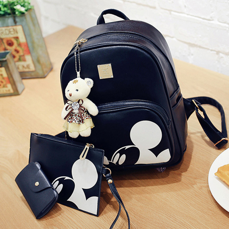 Mickey Backpack Women Composite Backpack High Quality Pu Bagpack leather Bag Mochila Feminina Leather Rucksack high quality pu leather women backpack