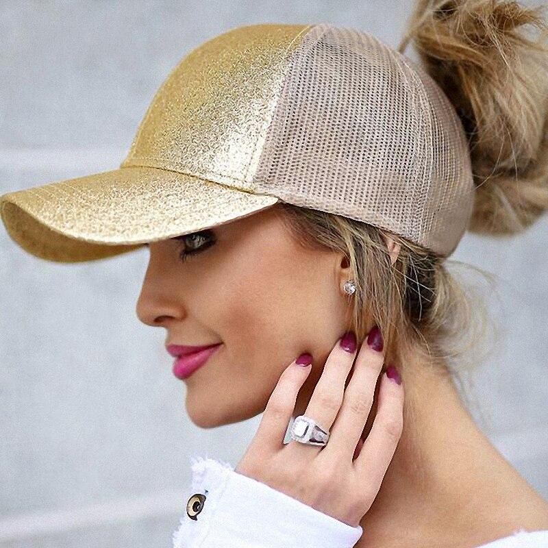 2019 Glitter Ponytail   Baseball     Cap   Women Snapback Summer Mesh Hat Female Messy Bun Hats Casual Adjustable Streetwear Hip Hop   Cap