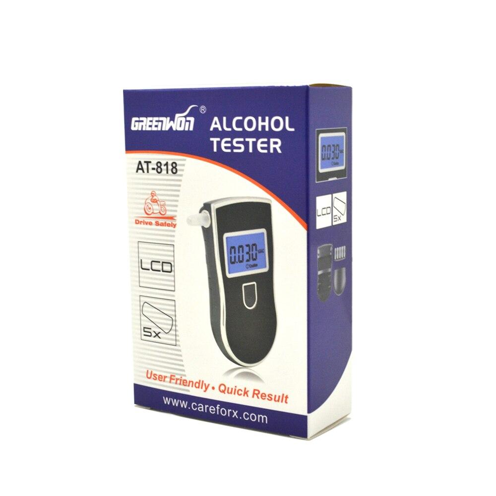 Алкотестер GREENWON с синей подсветкой, сертификаты CE& ROHS, алкотестер, алкотестер, Алкотестер для дыхания AT-818 с мундштуками