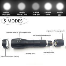 Litwod A100 3800 Lumens CREE XM-L L2 & T6 Portable Light LED Flashlight Torch 5-Mode Zoomable linternas by 1*18650 or 3*AAA