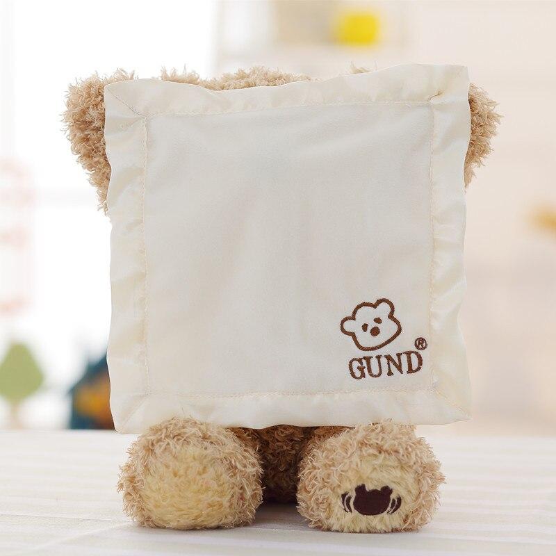 30 cm Peek a Boo Teddy Ours Jouer à Cache-Cache Belle électronique parler Musique Timide Ours En Peluche en peluche poupée jouet bébé cadeau
