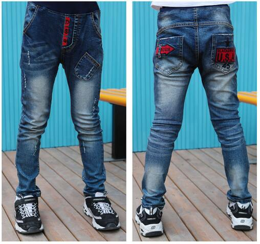 Kids Boys Jeans Trousers 100% Cotton 2017 Korean Spring Autumn Washed Children's Fashion Denim Pants Street Style Trouser 3-14Y стоимость
