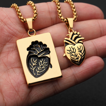 Anatomical Heart Necklace Puzzle Couples Necklaces | Silver and Gold