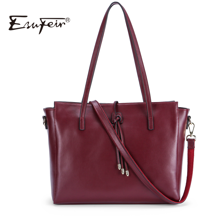 2018 ESUFEIR Brand Women Casual Tote Bag Genuine Leather Women Handbag Fashion Tassel Shoulder Bag Large Capacity Tote Women Bag 2017 esufeir brand genuine leather women handbag fashion shoulder bag solid cowhide composite bag large capacity casual tote bag