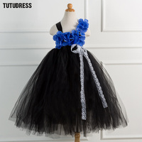 Black Red Girls Flower Tutu Dress Princess Children Christmas Halloween Costume Kids Dresses For Girls Birthday
