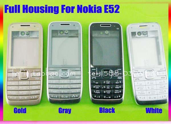 Negro/blanco/oro/gris nuevo 100% caso de la cubierta de originales completo completo de vivienda + teclado teclado botones para nokia e52 con el logotipo