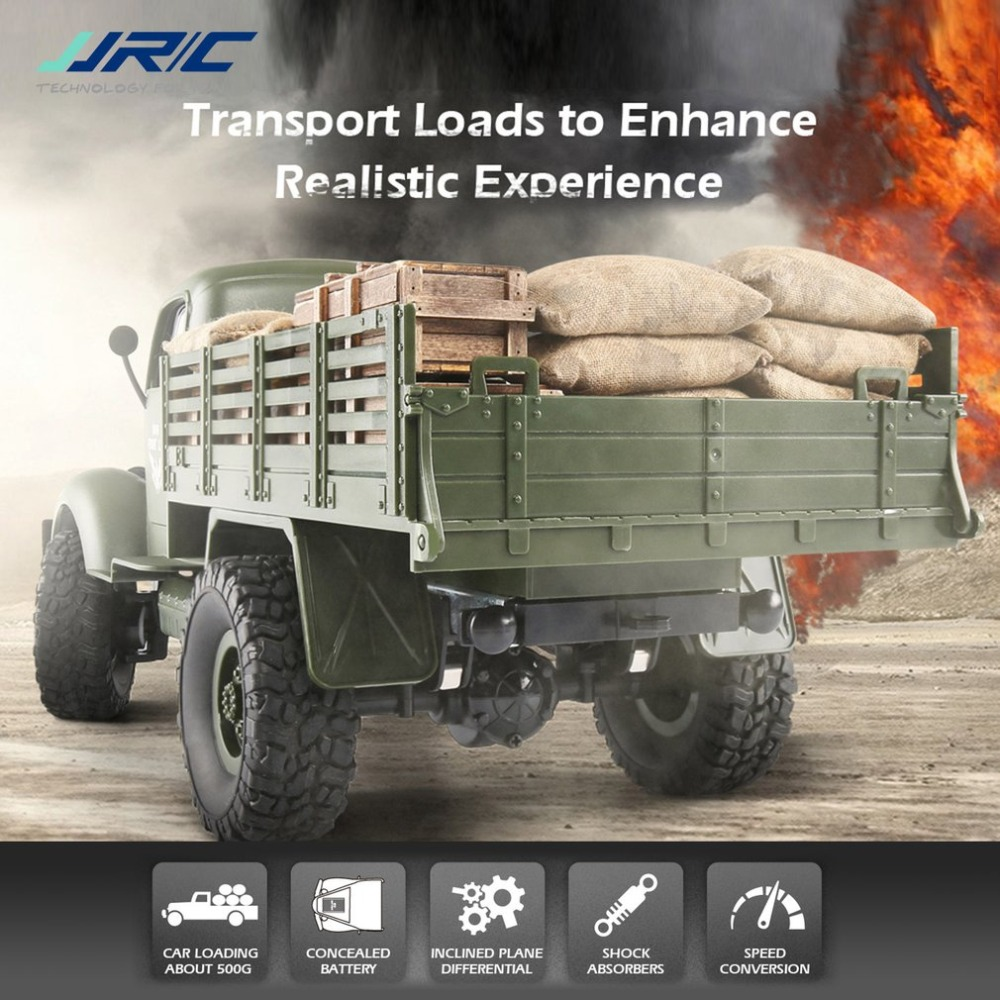 JJR/C Q61 1/16  4WD 2.4G RC Off-Road Military Truck Transporter RC Car Remote Control Vehicle for Children Gift Kids ToyJJR/C Q61 1/16  4WD 2.4G RC Off-Road Military Truck Transporter RC Car Remote Control Vehicle for Children Gift Kids Toy