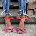 Весна/Осень Леди Обувь Розовый Бархат Большие Луки Женщины Насосы Бабочка-узел Острым Носом Скольжения На Женской Обуви обувь Sapato Feminino