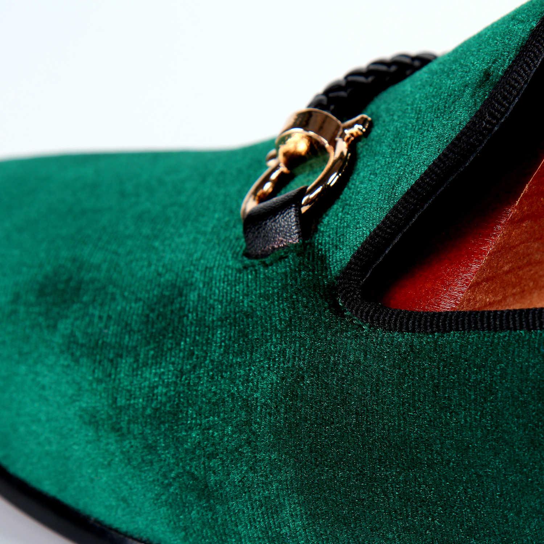 รองเท้าบุรุษกำมะหยี่สีเขียว loafers รองเท้าทอหัวเข็มขัดสายคล้องรองเท้าที่กำหนดเองจัดส่งฟรีขนาด 7-14