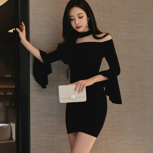 US $25.03 32% OFF|Plus Size Bodycon Bandage Dress 2019 Spring Women Black  Full Flare Sleeve Stand Vintage Club Short Dress Elegant Party Dresses-in  ...