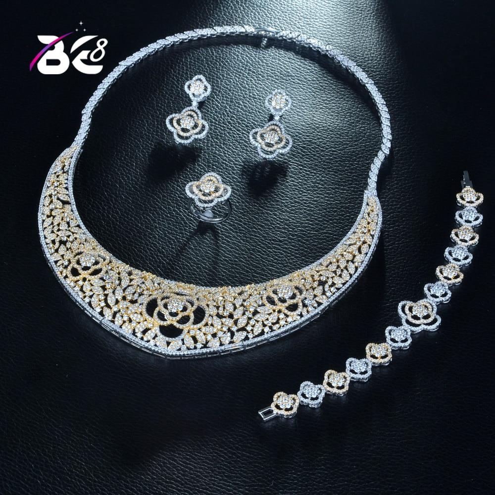 Be 8 роскошные высококачественные женские вечерние свадебные комплекты ювелирных изделий Pave CZ 2 тона в форме цветка нигерийские большие свадебные ожерелья набор S272