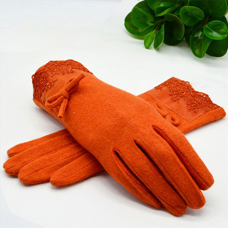 2017 fashion gloves women autumn winter elegant lace cashmere gloves patchwork warm mittens cute bow wool glove