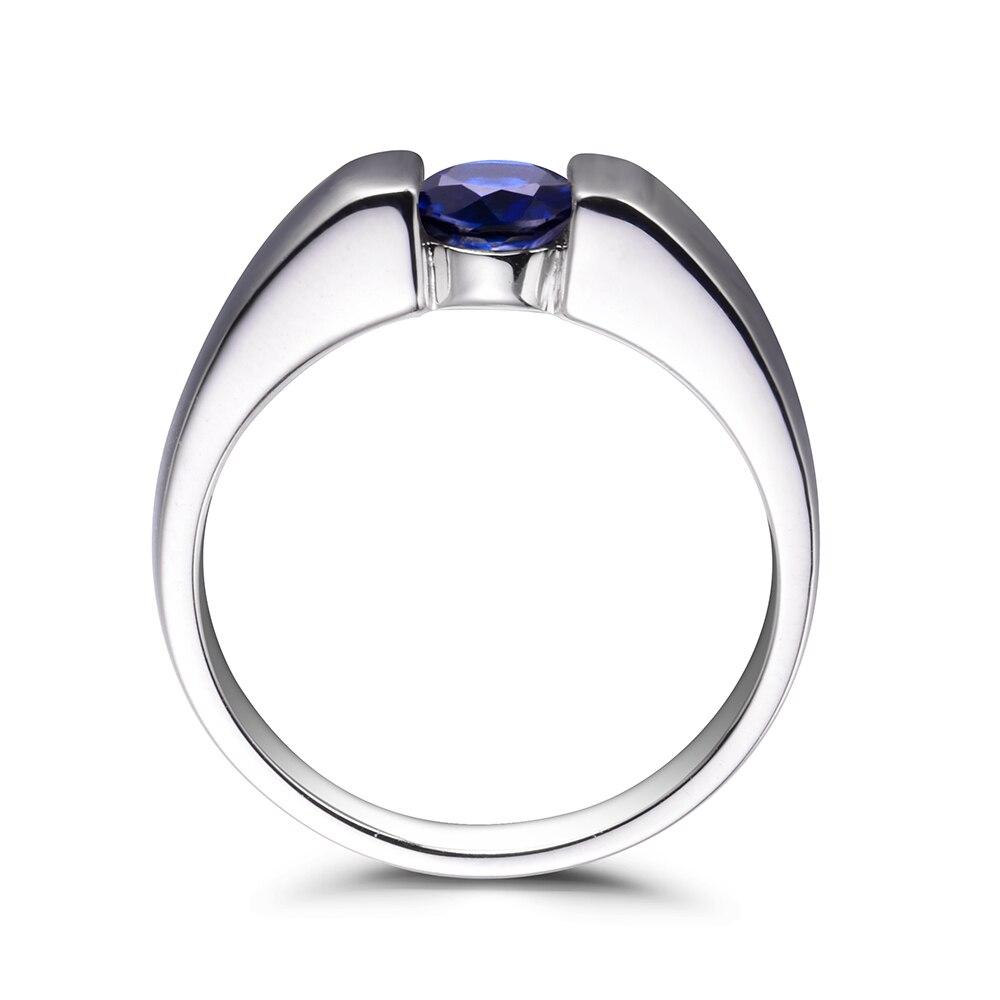 Biżuteria lab LeiGe szmaragdowy niebieski szafir obietnica pierścionki wrzesień Birthstone okrągły kształt niebieski kamień szlachetny pierścień prawdziwe 925 srebro dla kobiet w Pierścionki od Biżuteria i akcesoria na  Grupa 2