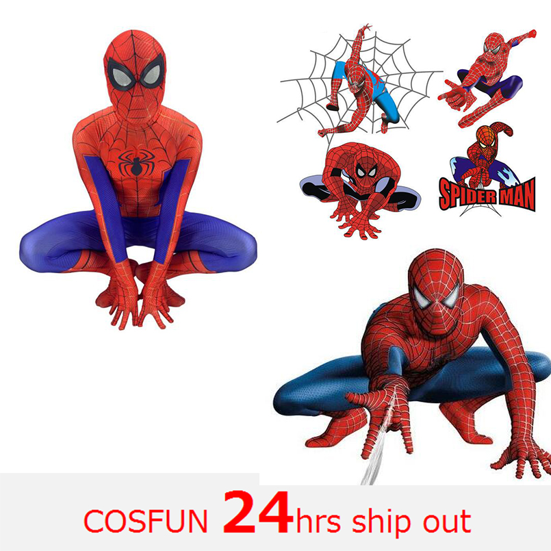 Avengers peter parker spiderman homecoming spiderman PS4 spiderman zentai suit for Halloween cosplay costume for kid and adult
