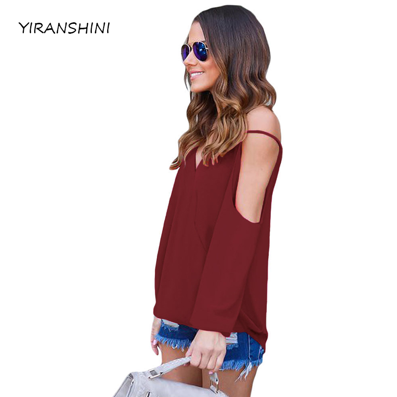 YIRANSHINI Sexy verano 2018 vino frío hombro V cuello frente Breezy señora Tops moda mujeres v-cuello camisetas LC250067