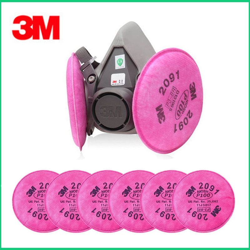 3M 6200 Spray Paint Dust Mask respirator facepiece with 2091 P100 Fliter Suit Industry Safety Security Dust Proof Mask3M 6200 Spray Paint Dust Mask respirator facepiece with 2091 P100 Fliter Suit Industry Safety Security Dust Proof Mask