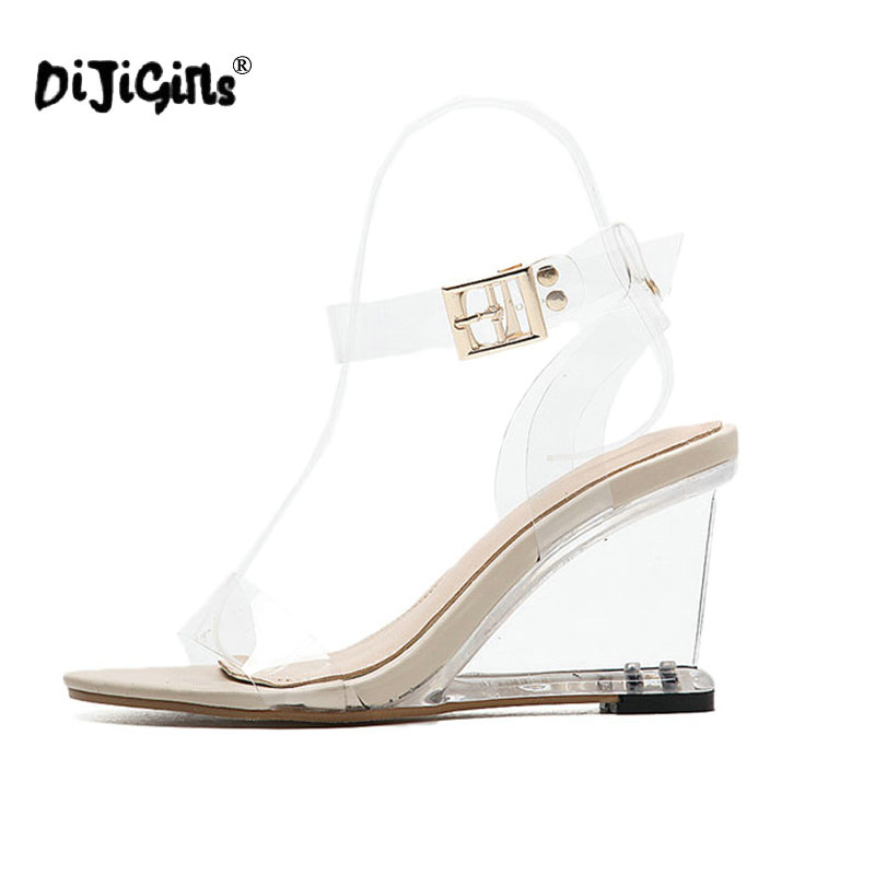 Dijigirls Crystal Shoes Women Fashion Ankle Strap High Heel Sandals  Transparent Wedges Heel 2018 Summer Gladiator Sandals 9cm-in High Heels  from Shoes on ... 1db57e805f4d