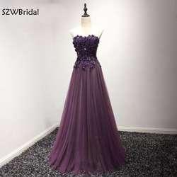 Новое поступление кружево аппликации бисером Длинные платья подружек невесты 2019 фиолетовый Robe demoiselle d'honneur Tenue mariage