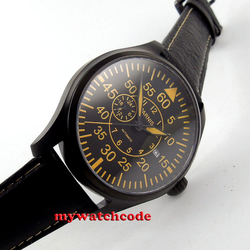 parnis black dial orange marks sapphire glass PVD miyota automatic mens watch617 42mm parnis withe dial sapphire glass miyota 9100 automatic mens watch 666b