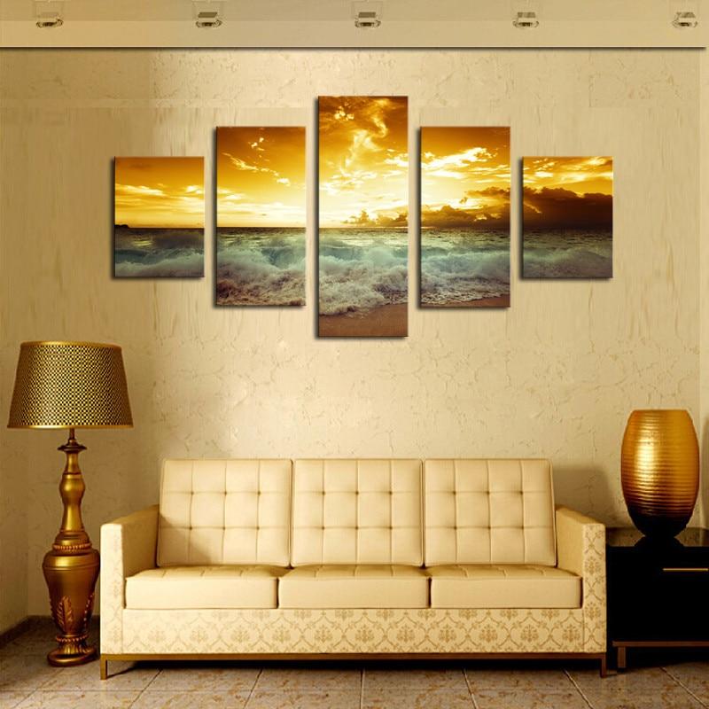 Rám 5 panel krásné moře krajina plátno tisk obraz moderní plátno nástěnné umění nástěnné malby domácí dekorace kresby