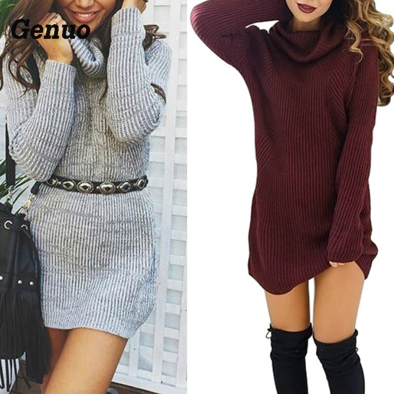 Women Sexy Dress Fashion Autumn Winter Dresses Sexy High Necked Long Sleeve Dress Womens Wool Knitting Casual Mini Dress in Dresses from Women 39 s Clothing