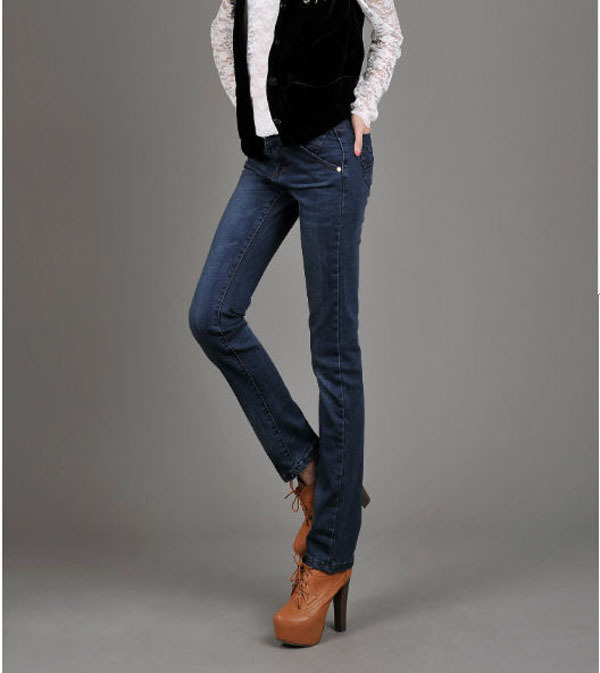 ФОТО The new spring 2014 women's jeans Korean version thin large size women's jeans straight jeans pants female feet S145
