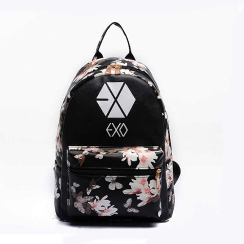 6479f342a335 Women Leather Small Floral Print Preppy Style Travel EXO School For Teen  Light Bolsa Feminina bag
