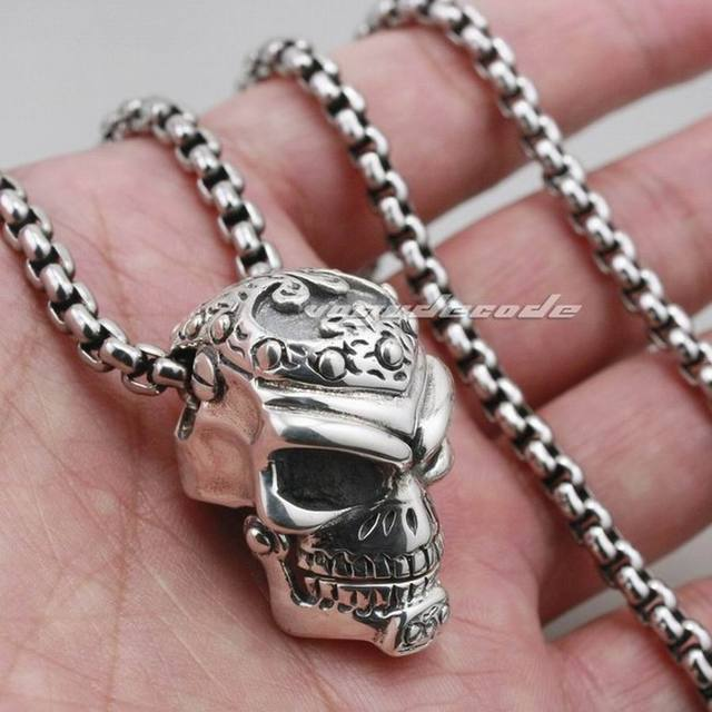 Solid 925 Sterling Silver Skull Mens Biker Pendant 8C011 With Matching Stainless Steel Necklace
