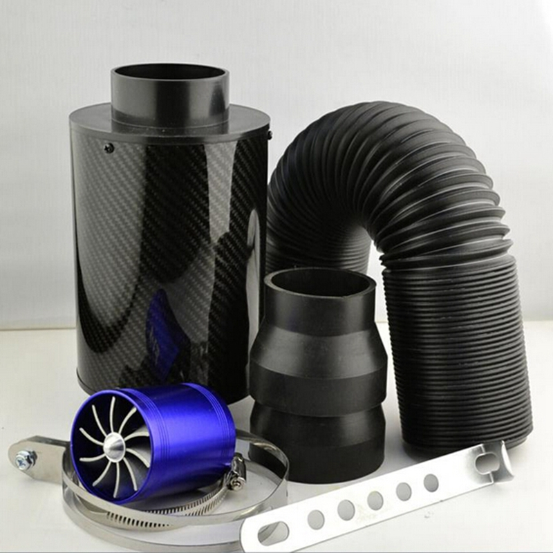 Car Styling Universal Racing Carbon Fiber Air Intake Pipe Kit/Car Air Filter/High Flow Cold Air Extension System For Honda AMG universal racing carbon fiber cold feed induction kit carbon fiber air intake kit air filter box with fan