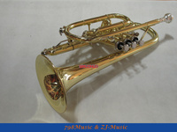 NEW AAA Quality Gold Lacquer Pocket Trumpet Cornet Large bell Horn With Case