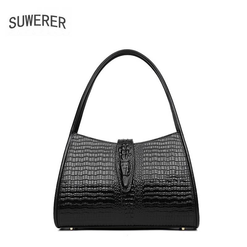 Femmes sac de luxe marque 2018 nouveau woemn véritable sac en cuir De Mode de luxe Crocodile motif en relief femmes sac à bandoulière en cuir