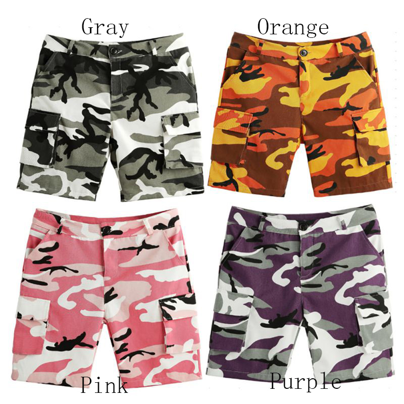 Women Camouflage Print Hip Hop Casual Low Waist Knee-length Pants Button Fly Pockets Pants Streetwear Pants