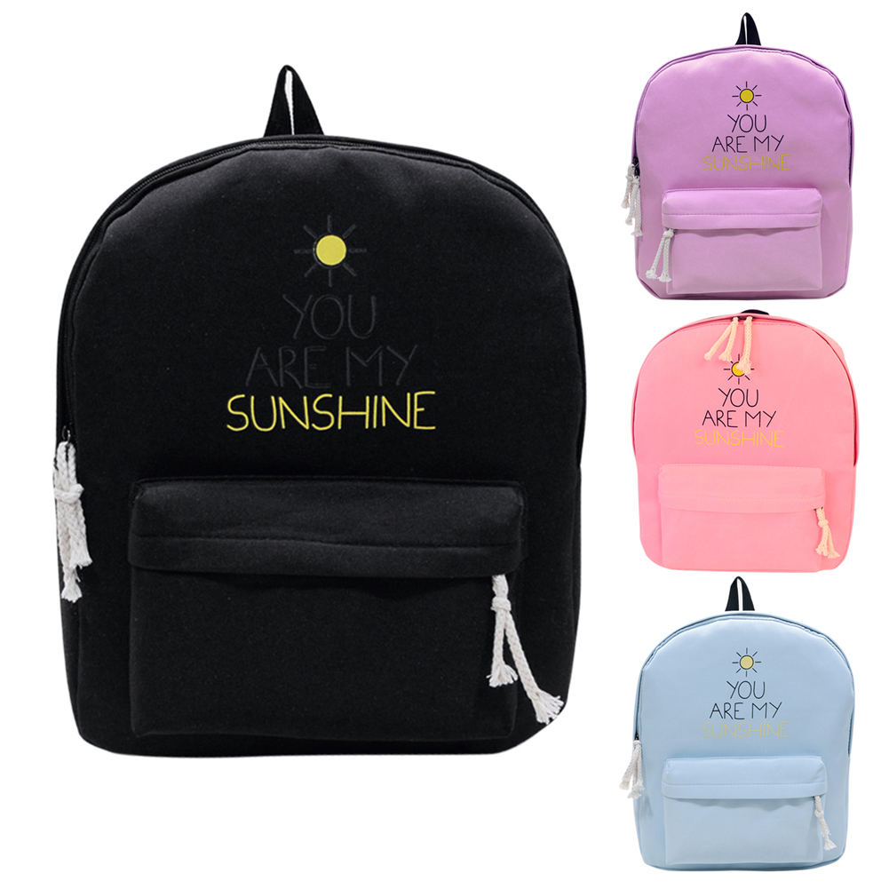 Cute Designer Sunshine Printing Canvas Women Backpack School Notebook Bag  Teens Girl Laptop Rucksack Women Canvas Backpacks-in Backpacks from Luggage    Bags ... 64dff35303680