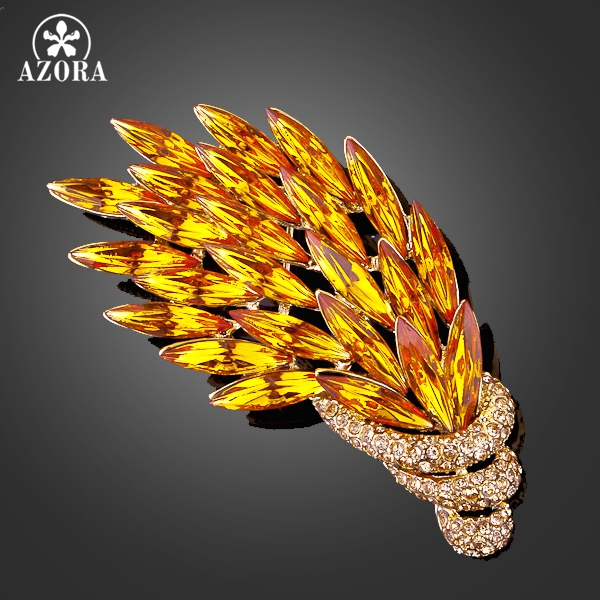 AZORA Gold Color Stellux Multicolour Austrian Crystal Peacock Feathers Pin Brooch TP0003 azora sparking sea blue top stellux austrian crystal octopus animal pin brooch tp0051